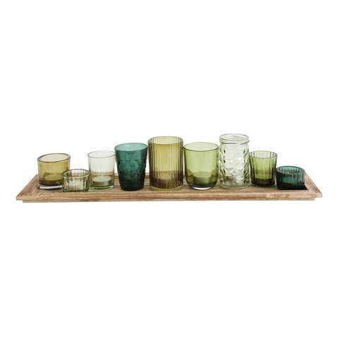 Wood Tray with Votive Holders