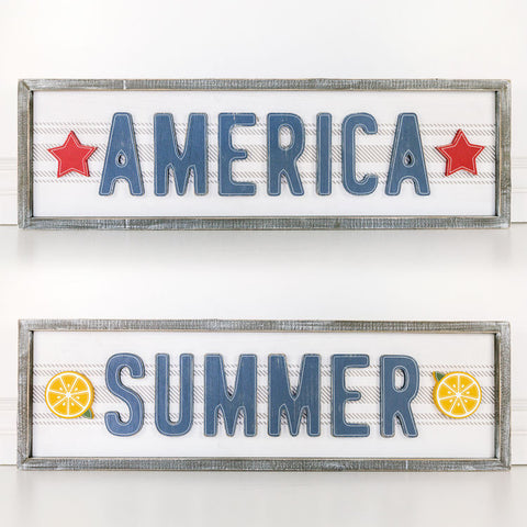 Reversible Summer-America Sign