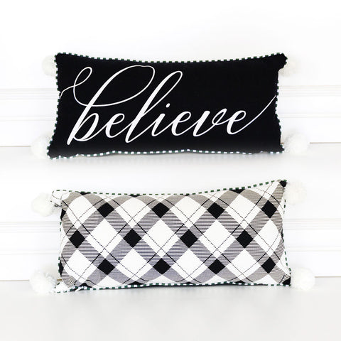 Black Believe Reversible Pillow