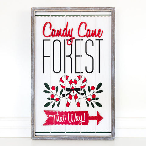 Candy Cane Forest Sign