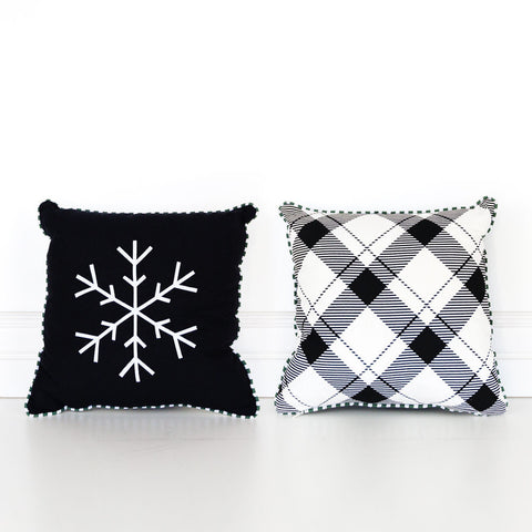Black Reversible Snowflake Pillow
