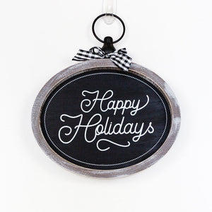 Happy Holidays Oval Sign