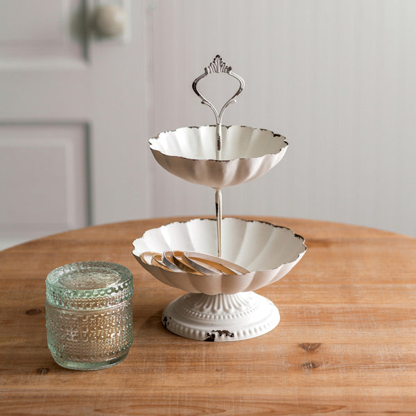 Scalloped Two-Tiered Tray