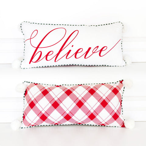 Red Believe Reversible Pillow