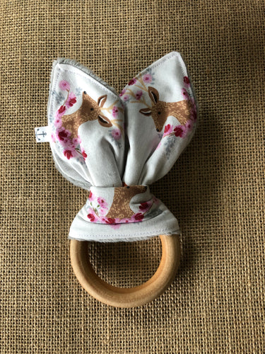 Natural Wood Teething Ring, Pretty Deer