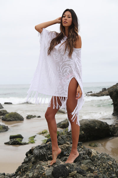 Moon Child Sheer Poncho in White