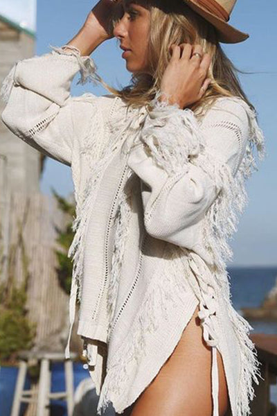Ryley All Over Fringe Top in Calypso