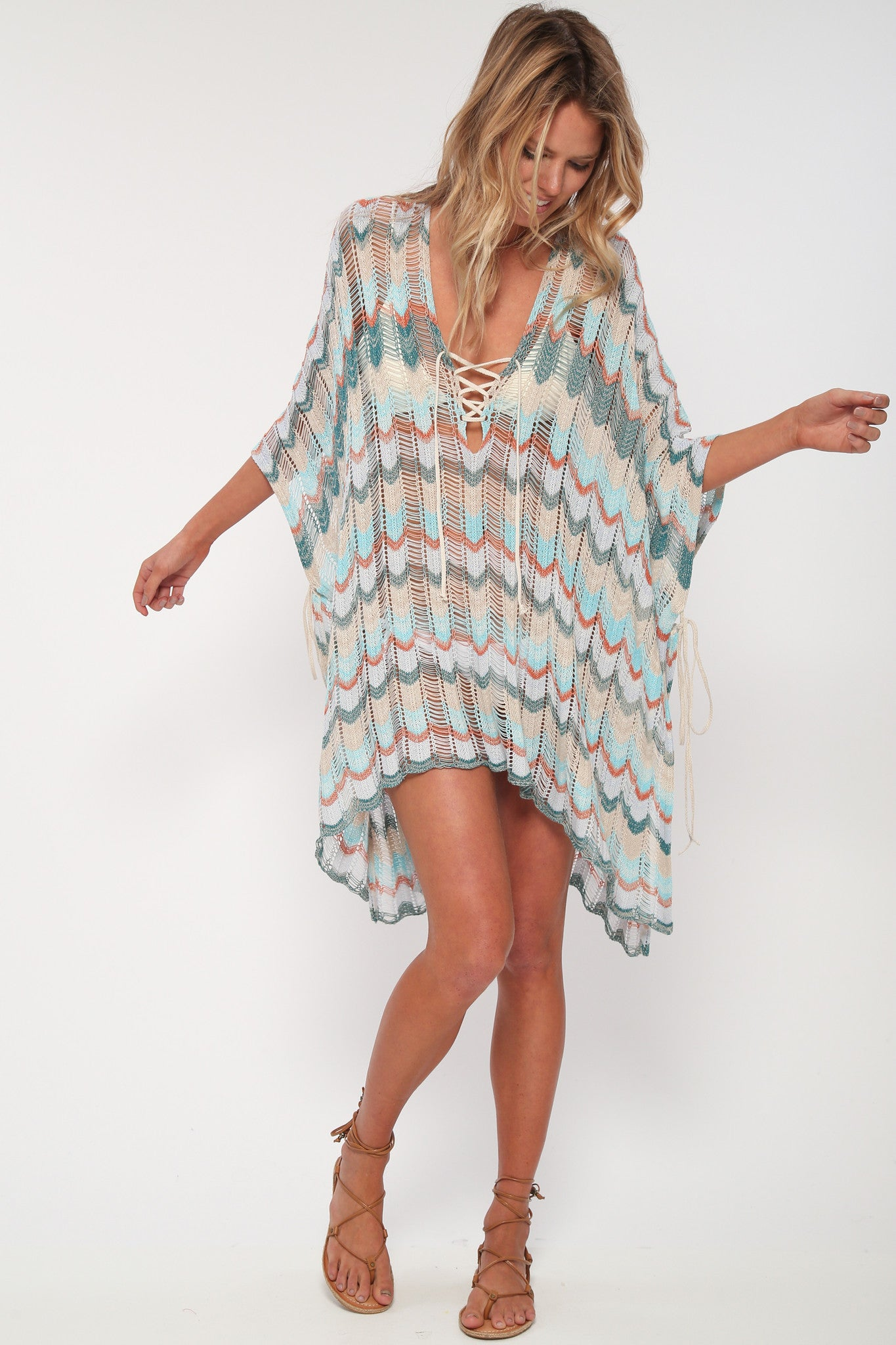 Babetown Sheer Poncho w/ Lace Up Detail in Bungalow