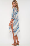 Babetown Sheer Poncho w/ Lace Up Detail in Surf Spray