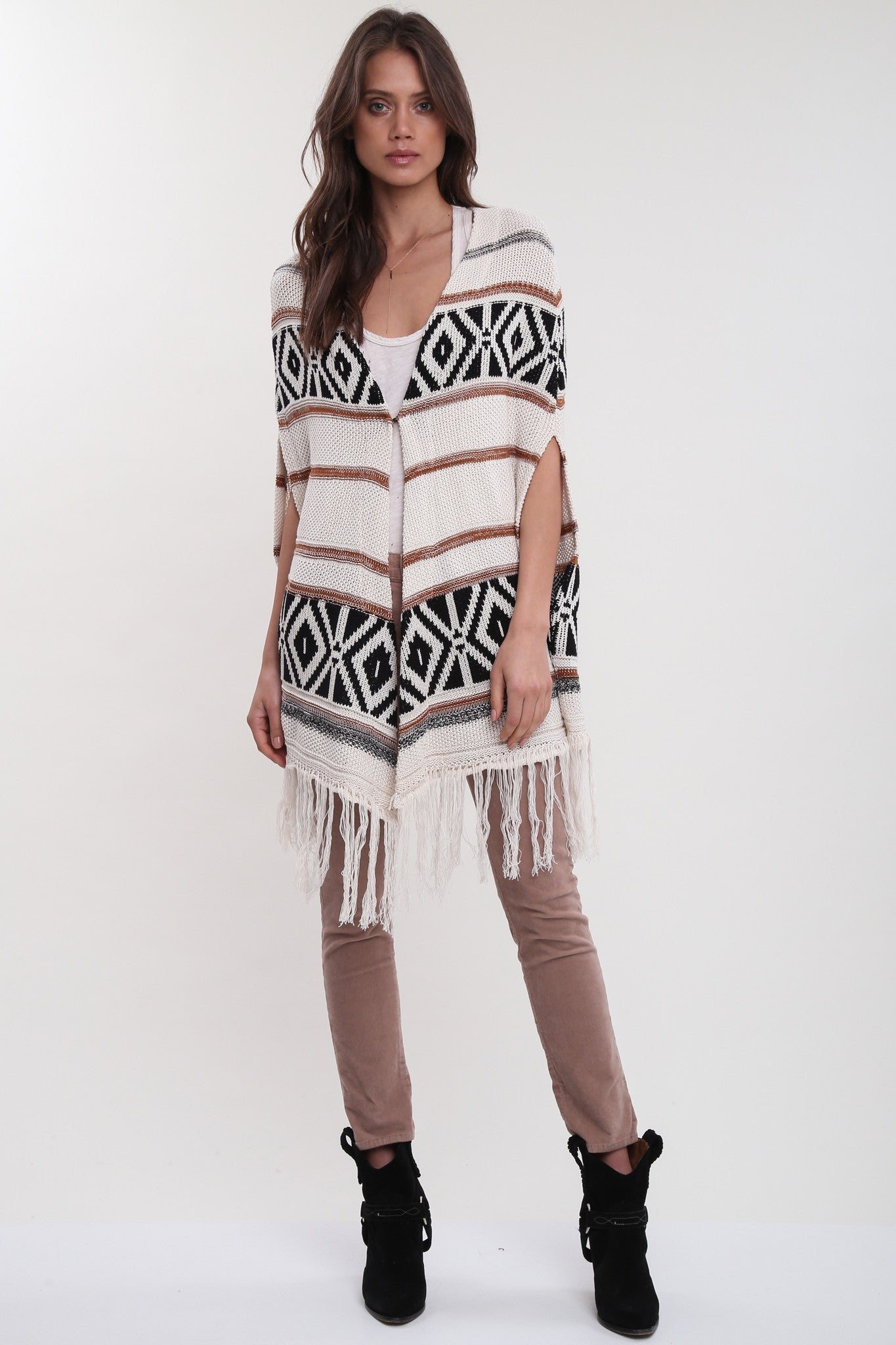 Benson Open Front Poncho in Evening Indulgence