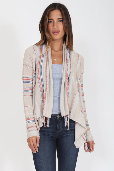 Biya Fringe Cardigan in Coral Essence'Last One'