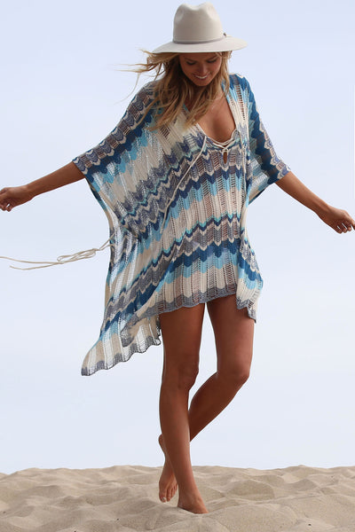 Babetown Sheer Poncho w/ Lace Up Detail in Surf Spray 'LAST ONE'