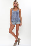 Babylon Knit Fringe Tank in Indigo