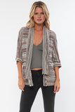 Brie Drape Front Cardigan in Rustic Taupe