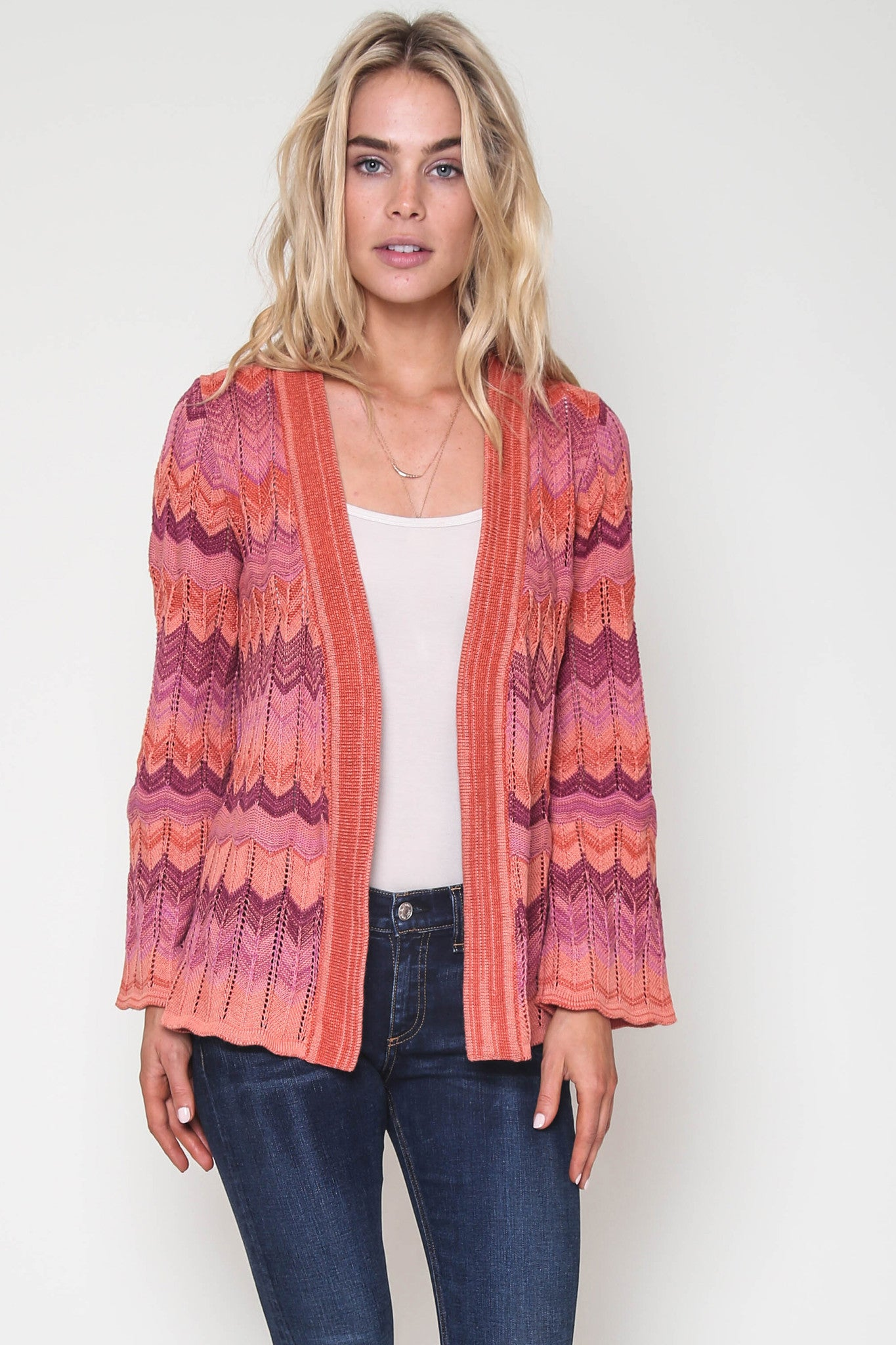 Desirea Belted Cardigan In Coral Rock
