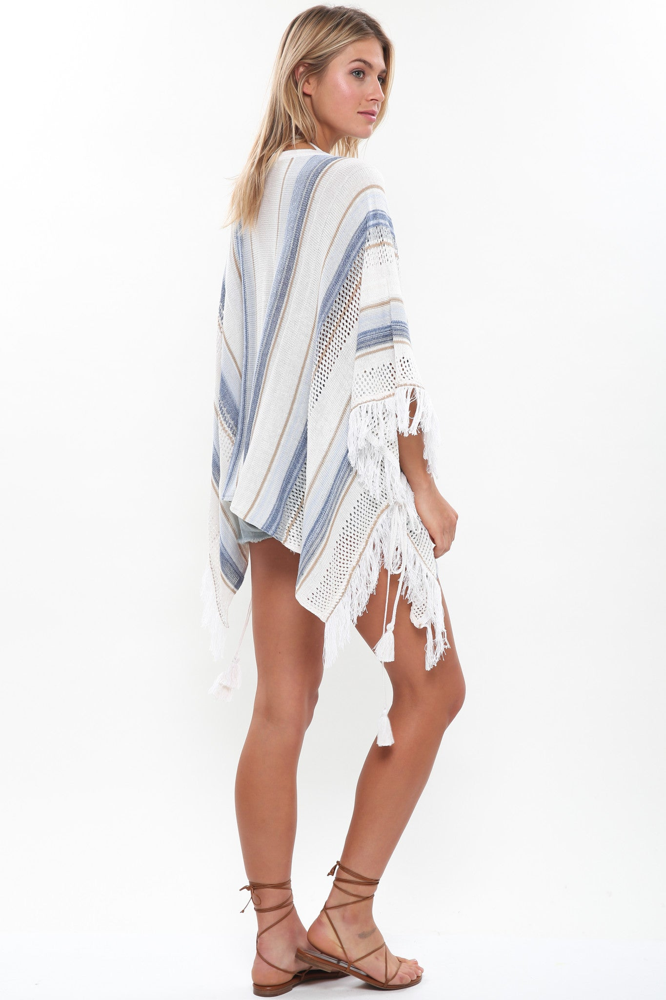 Duchess Fringe Poncho in Off the Grid