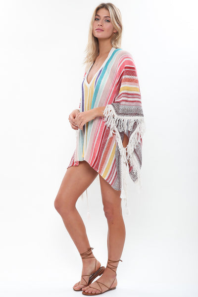 Duchess Fringe Poncho in Pinch of Spice