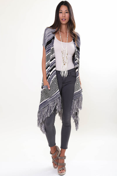 Easy Rider Sleeveless Cape in Overcast