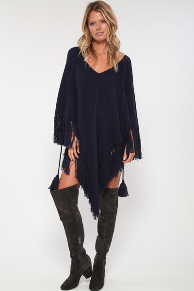 Free Spirit Baby Alpaca Poncho in Navy 'LAST ONE'