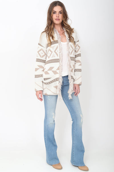 Gracie Fringe Cardigan in Day Dream