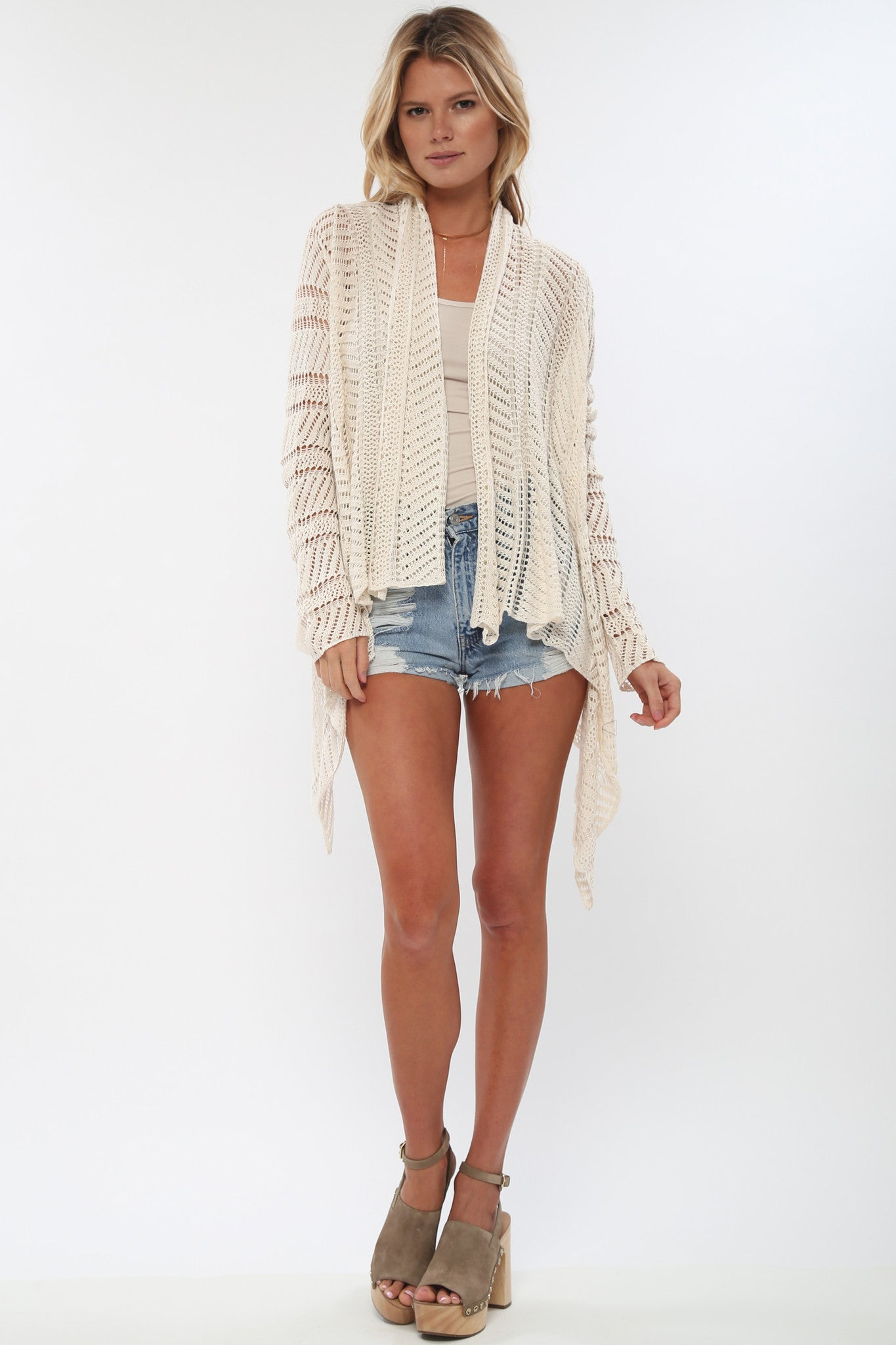Hampton Sheer Drape Sweater in Fog