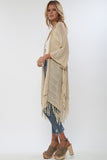 Heartbreaker Drape Sweater with Fringe in Biscotti 'LAST ONE'