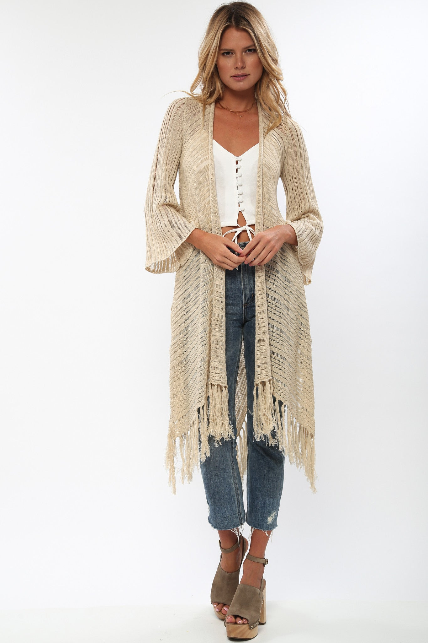 Heartbreaker Drape Sweater with Fringe in Biscotti