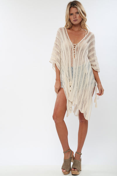 Hendrix Sheer Poncho in Linen 'LAST ONE IN EACH SIZE'