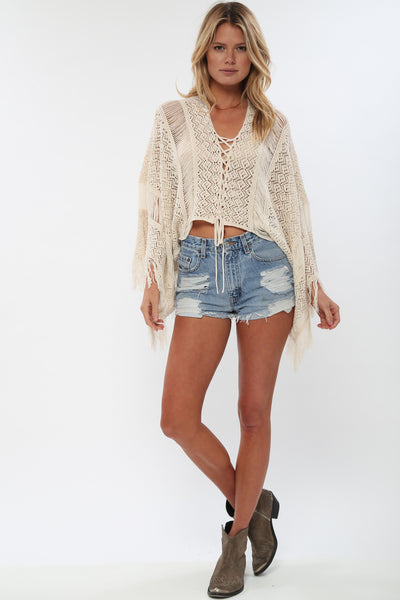 Island Gypsy Sheer Knit Top in Linen