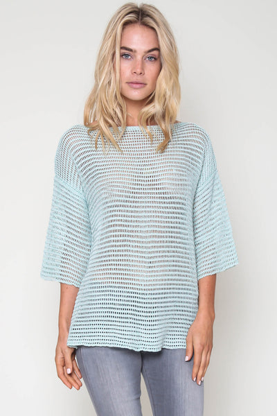 Jagger Semi-Sheer Pullover in Mint Leaf