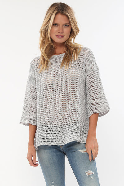 Jagger Semi-Sheer Pullover in Pale Smoke