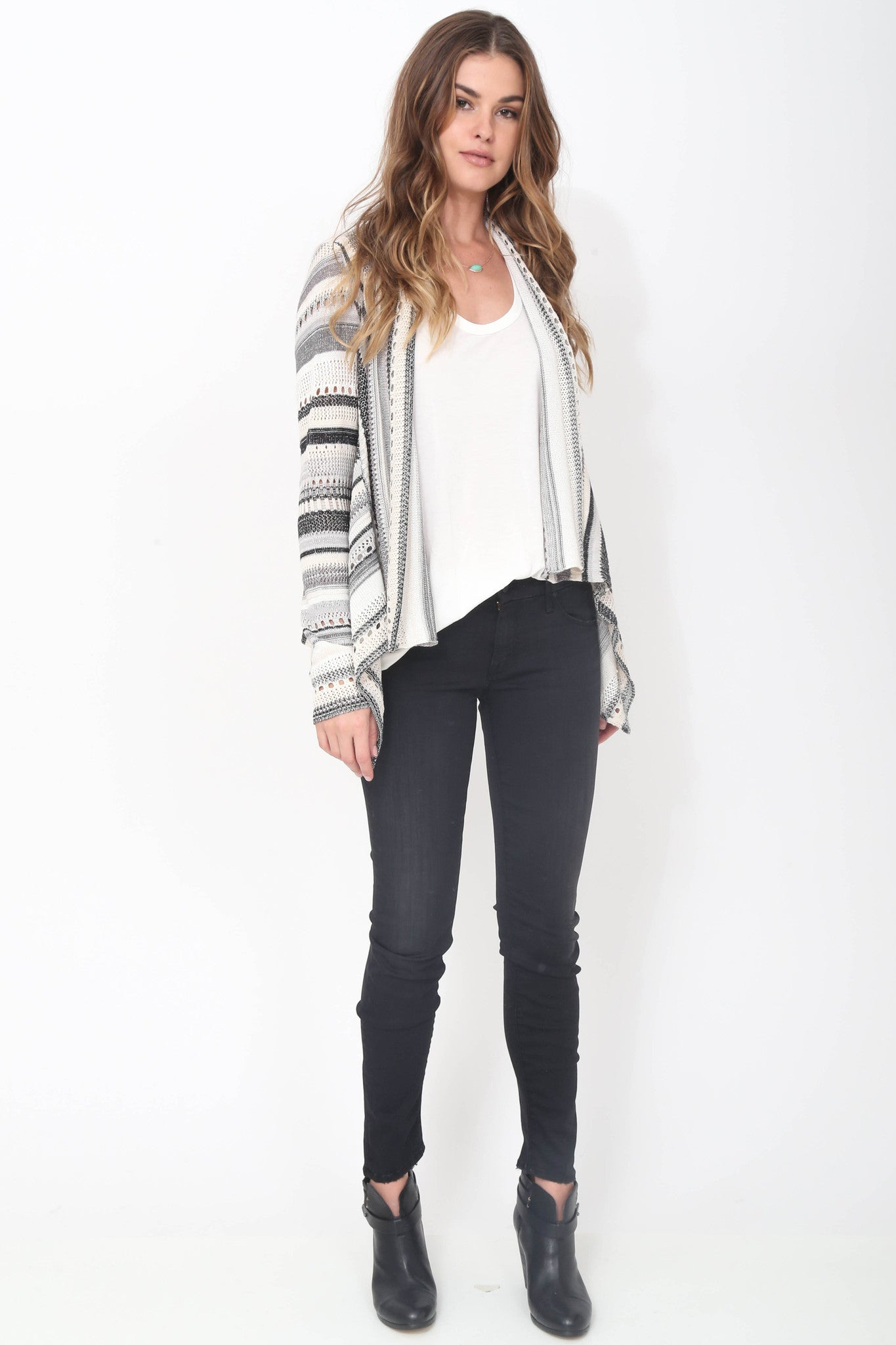 Jillian Drape Cardigan in Shadow