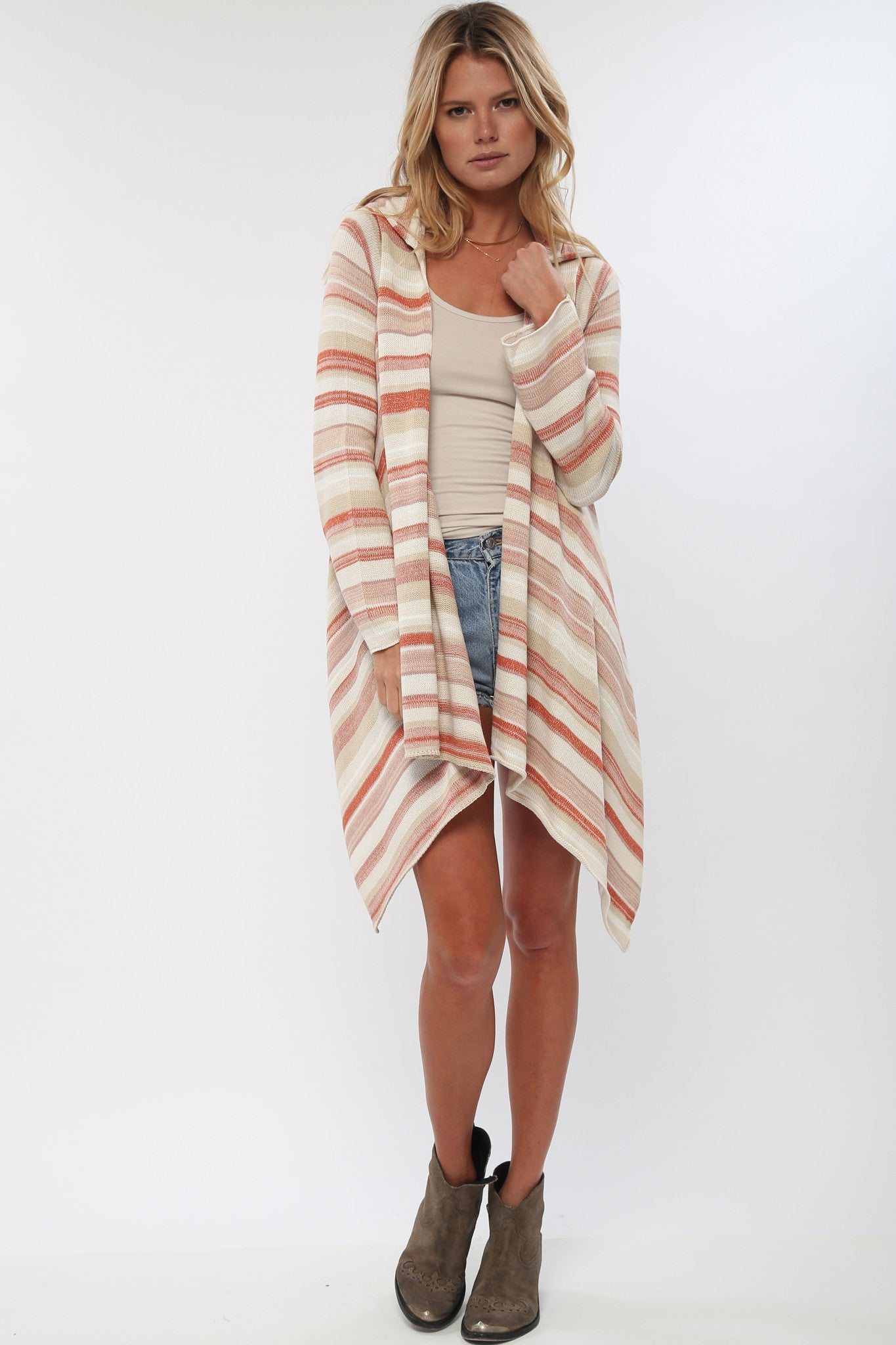 Leona Hooded Wrap Sweater in Sun Drenched