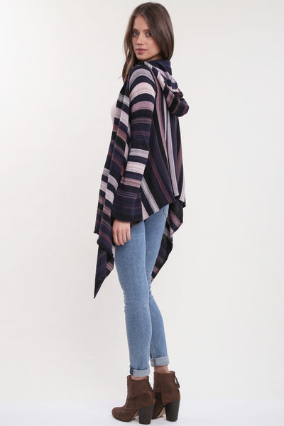 Leona Hooded Wrap Sweater in Urban Mist