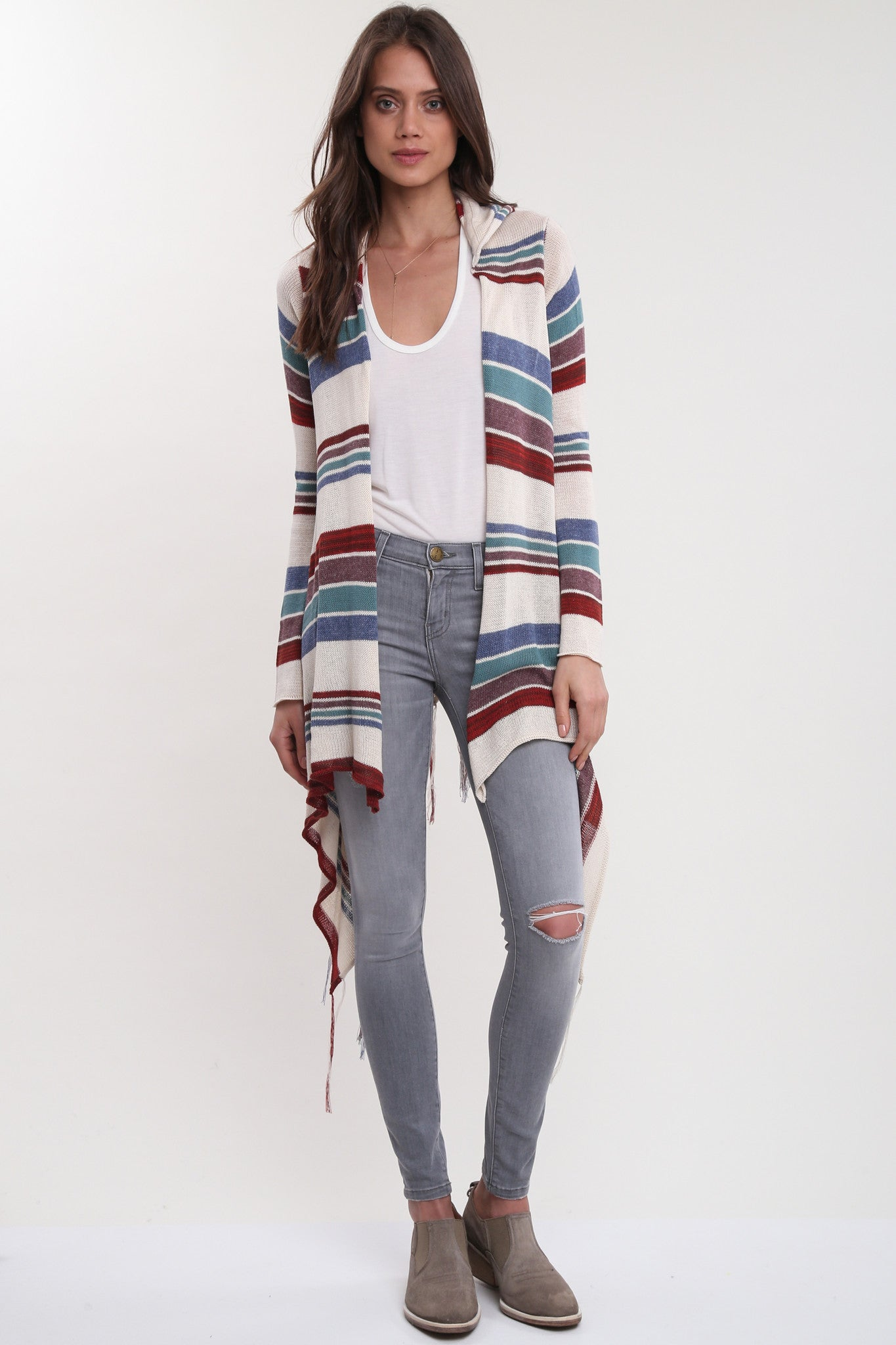 Linsey Hooded Wrap Sweater with Fringe in Paradise Cove
