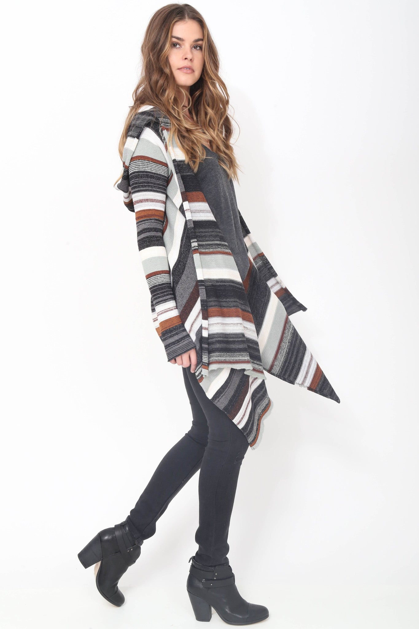 Leona Hooded Wrap Sweater in Canyon Sky'LAST ONE'