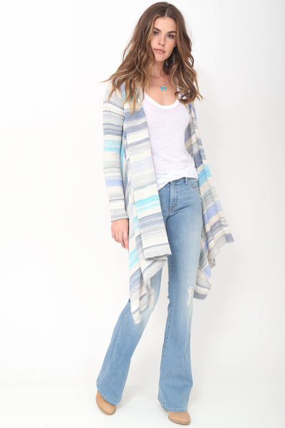 Leona Hooded Wrap Sweater in Moroccan Blue