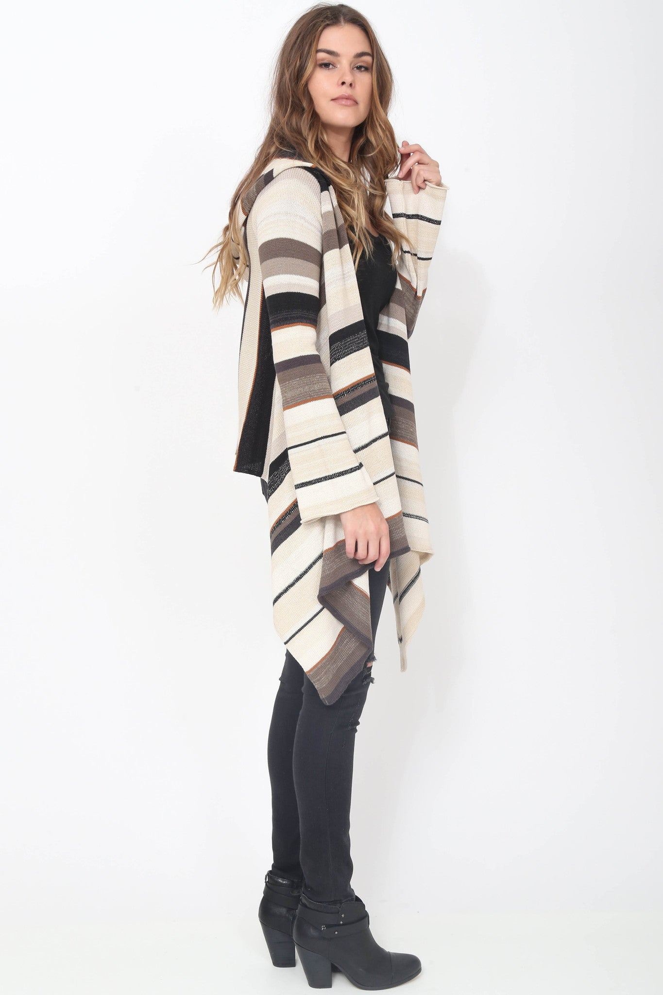 Leona Hooded Wrap Sweater in Oak Hill