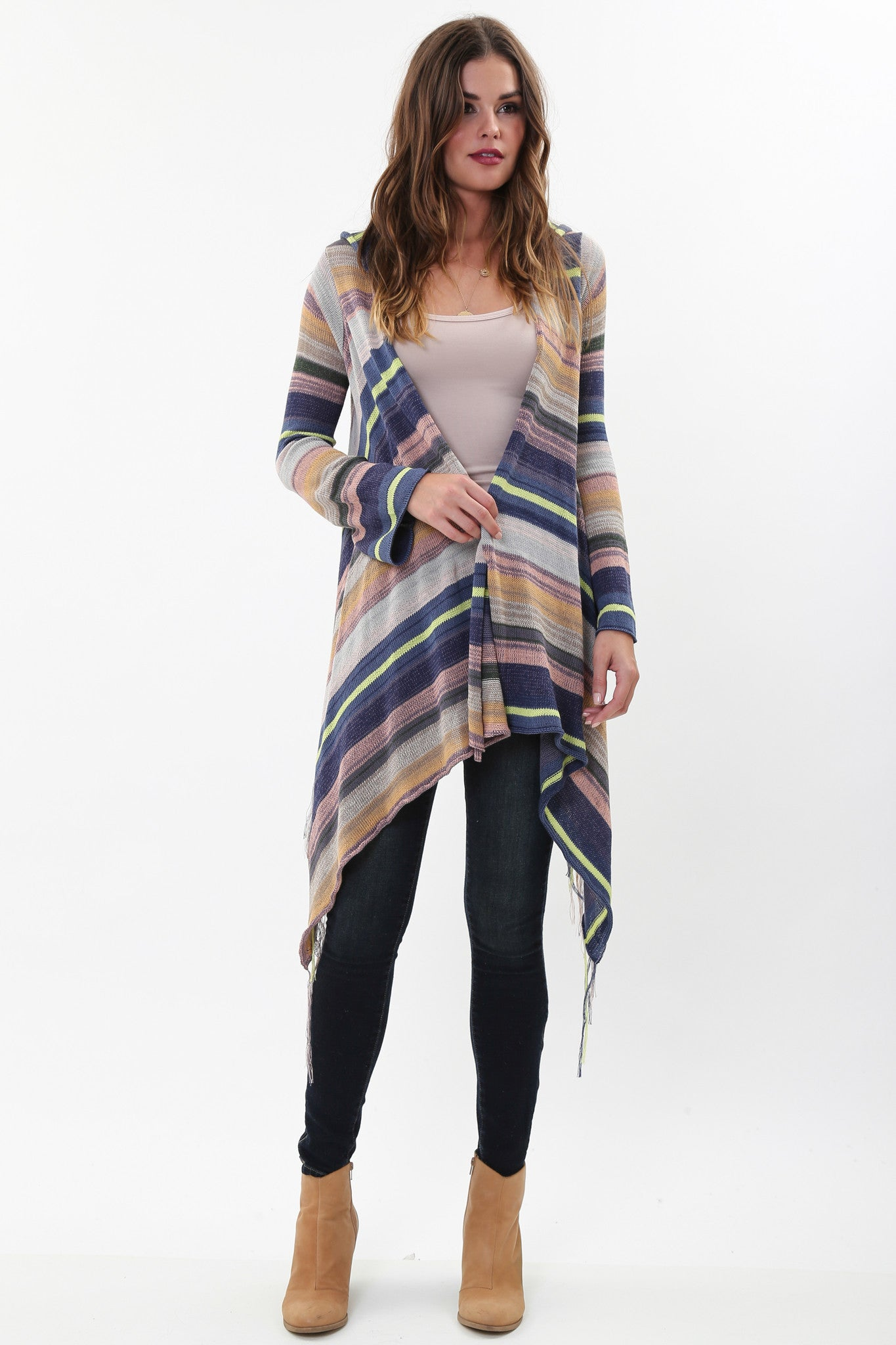 Linsey Hooded Wrap Sweater with Fringe in Almond Willow