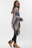 Linsey Hooded Wrap Sweater with Fringe in Almond Willow  'LAST ONE IN EACH SIZE'