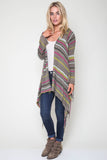 Linsey Hooded Wrap Sweater with Fringe in Kiwi