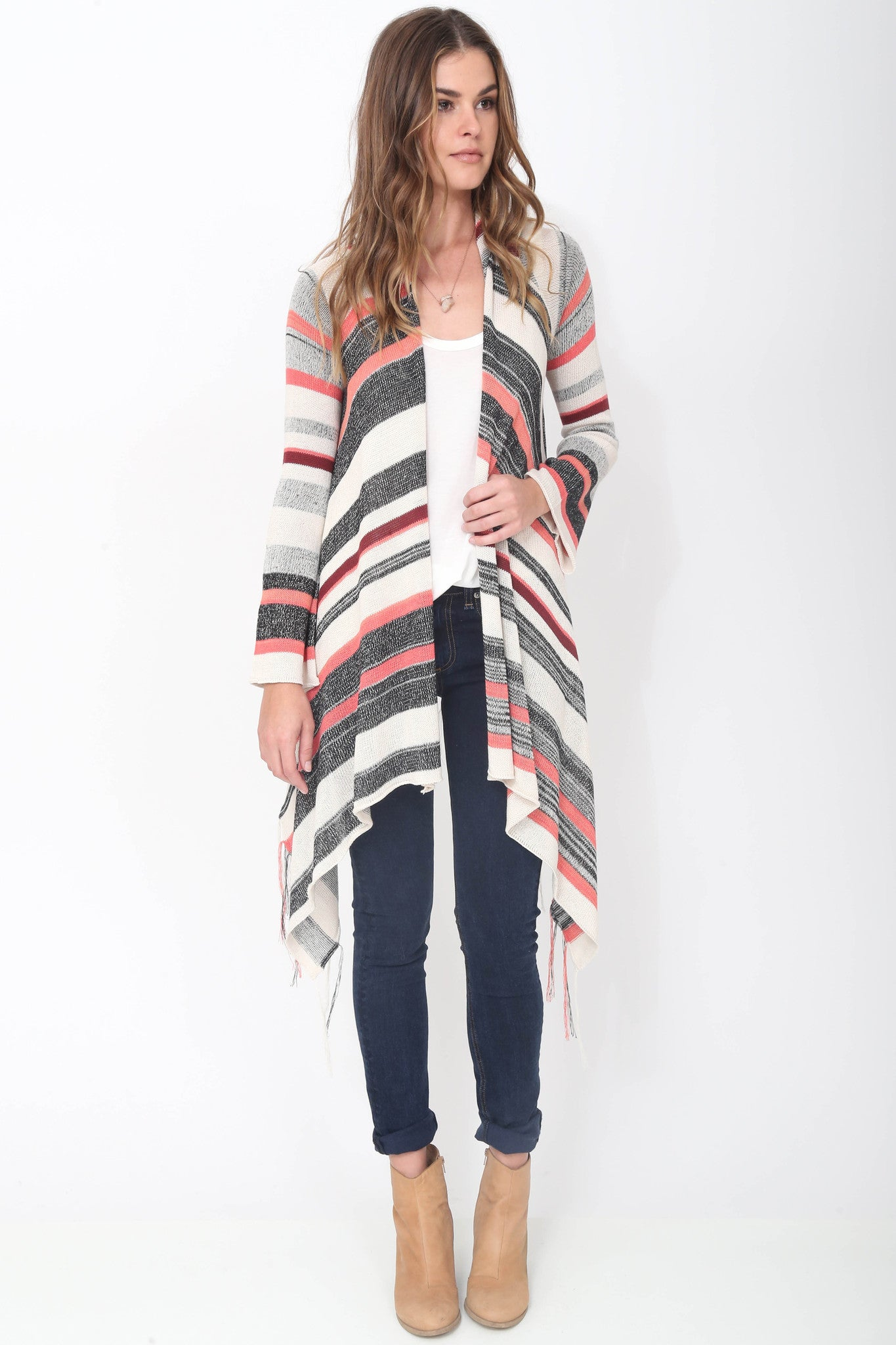 Linsey Hooded Wrap Sweater with Fringe in Tango