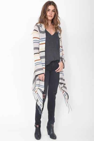 Linsey Hooded Wrap Sweater with Fringe in Tibetan Blue 'LAST ONE'