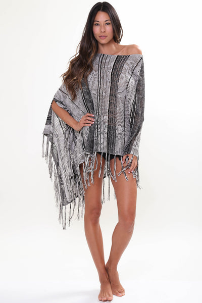 Moon Child Sheer Poncho in Overcast