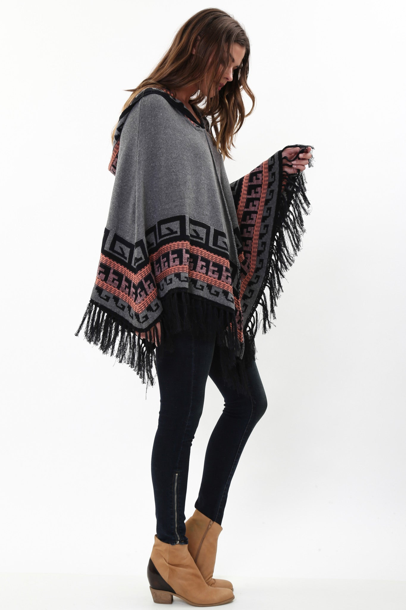 Maddie Hooded Poncho in Aster