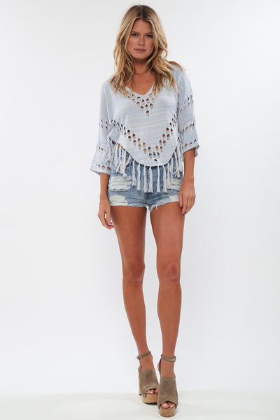 Madrid Fringe Top in Blue Crush