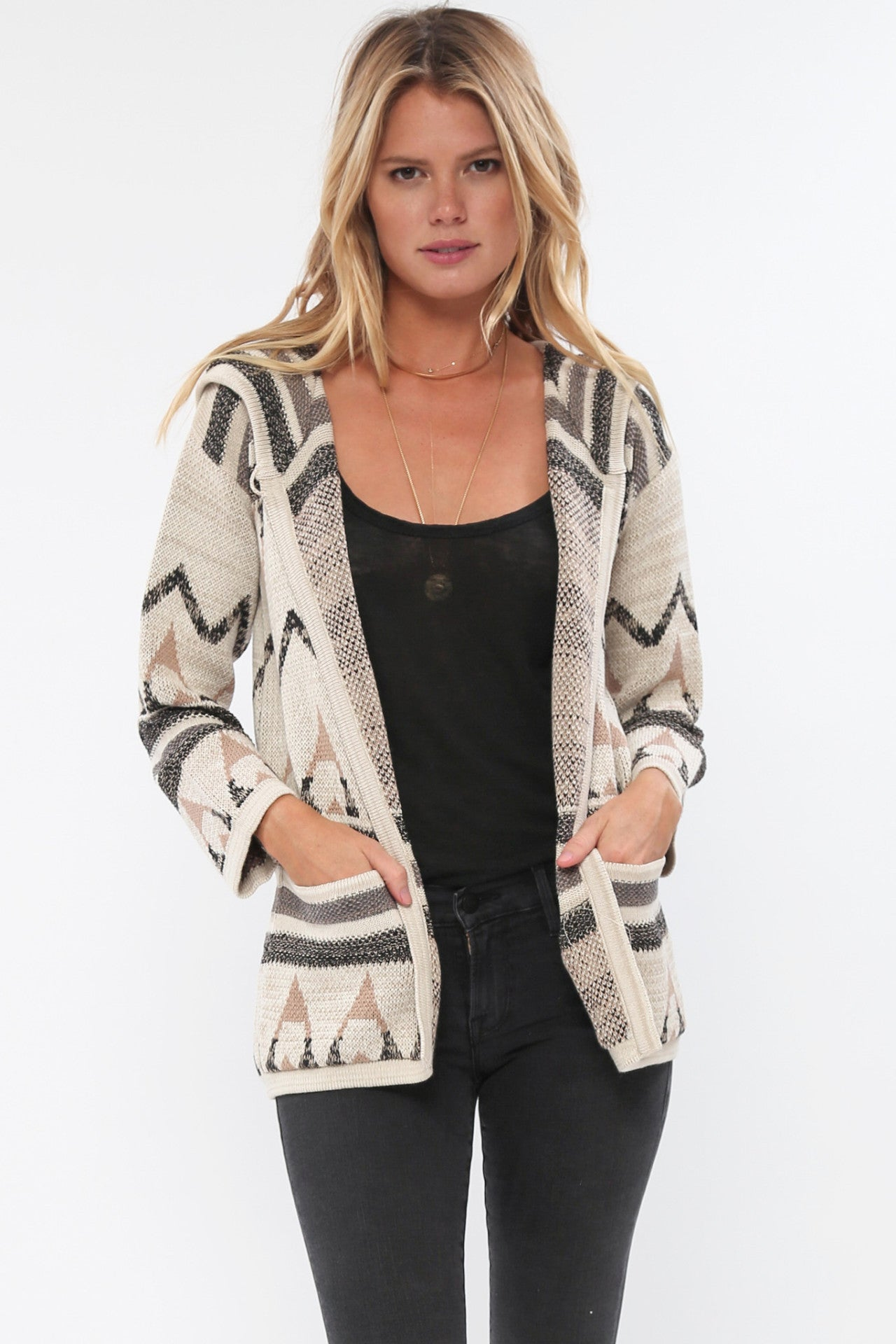 Navita Jacquard Hooded Knit Jacket in Canvas Ink