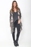 Phoebe Hooded Fringe Sweater in Monaco