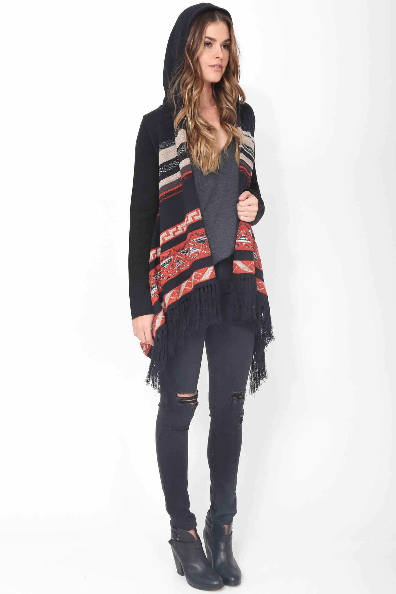 Phoebe Hooded Fringe Sweater in Montana