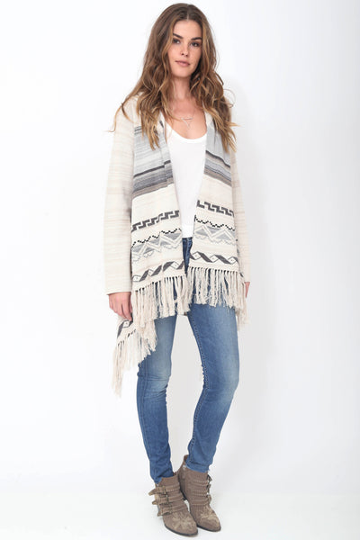 Phoebe Hooded Fringe Sweater in Mooncrest